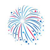 Simple style blue and red firework. Royalty Free Stock Photography