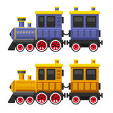 Simple Style Color Toy Trains and Wagons Set. Vector Stock Photo