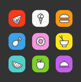Simple style different food icons Royalty Free Stock Photos
