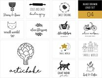 Simple and stylish collection of modern logos and illustrations. Vector hand drawn elements, doodles Royalty Free Stock Photos
