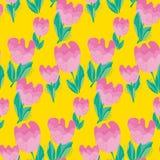 Simple stylish tulip flower seamless, pattern. v Stock Photos