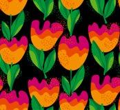 Simple stylish tulip flower seamless, pattern. Stock Image