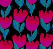 Simple stylish tulip flower seamless, pattern. Royalty Free Stock Photo