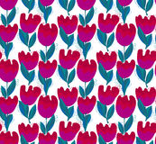 Simple stylish tulip flower seamless, pattern. Royalty Free Stock Images