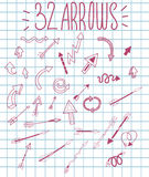 Simple and stylish vector hand drawn pink arrows. Royalty Free Stock Photo