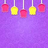 Simple Stylized Colorful Tulipa on Purple Swirl Background Stock Photography