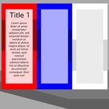 Simple stylized flat red blue white info graphic template Royalty Free Stock Image