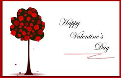 Valentines day card with red roses tree and frame, vector eps 10 stock illustration