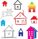 Simple stylized icon of houses Royalty Free Stock Photography