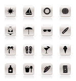 Simple Summer and Holiday Icons Stock Images