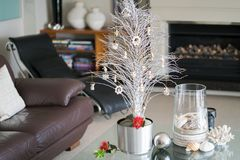 Simple summer New Zealand theme Christmas small white tree Royalty Free Stock Images