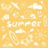 Simple summer pattern, raster bitmap stock illustration