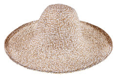 Simple summer straw broad-brim hat. Isolated on white background royalty free stock images