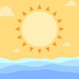 Simple summer sun and ocean waves. Illustration Royalty Free Stock Photography