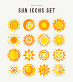 Simple sun icon set summer concept illustrations. Set of sun icon illustrations, abstract yellow designs in flat art for weather or climate project. EPS10 vector Stock Photo