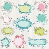 Frames pack. Simple swirl doodle frames pack Royalty Free Stock Images