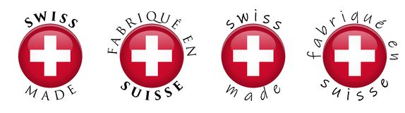 Simple Swiss made / French translation 3D button sign. Text around circle with flag of Switzerland. Decent and casual font stock illustration