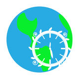 Simple symbol of earth with clock on white background Royalty Free Stock Images