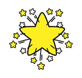 Simple symbol explosive star with sprouting stars Stock Images