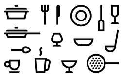 Simple symbols of cookery, kitchen utensils and cutlery royalty free illustration