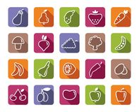 Icons of fruit and vegetables vector illustration