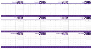 Simple table calendar 2016 Stock Images