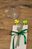 A simple table setting for St Patrick's day Royalty Free Stock Image