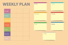 Weekly planner table vector. Simple table with a weekly schedule in the left part of the vector and a yellow cards for each day of the week on the right part of Stock Images