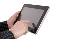 Simple tablet in man's hands, Royalty Free Stock Image