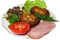 Simple, tasty breakfast. Cutlets of chicken ham and mushrooms for breakfast Royalty Free Stock Photography
