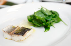 Simple but tasty piece of steamed seabass fillet Royalty Free Stock Image