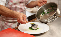 Simple but tasty piece of steamed seabass fillet Stock Photo