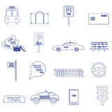 Simple taxi blue outline icons set eps10 Royalty Free Stock Image