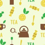 Simple Tea Concept in Seamless Pattern Royalty Free Stock Photos