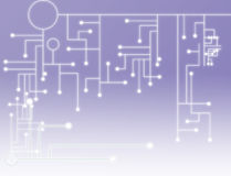 Simple tech background. Abstract background of a purple illustration of a circuit board with bright white gradient Stock Photography