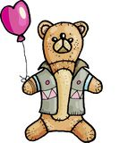 Simple teddy bear in pastel colors vector illustration