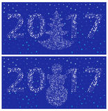 Simple templates postcards 2017 New Year. (Two thousand and seventeen). White digits of snowflakes on a blue background Royalty Free Stock Photos