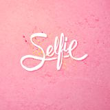 Simple Text Design for Selfie Concept on Pink Royalty Free Stock Images