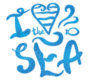 Simple text `love the sea` Stock Images