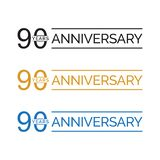 Simple 90th anniversary years logo vector. blue black gold color. Simple 90th anniversary years celebration logo vector. blue black gold color vector illustration