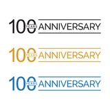 Simple 100th anniversary years logo vector. blue black gold color. Simple 100th anniversary years celebration logo vector. blue black gold color royalty free illustration