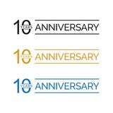 Simple 10th anniversary years logo vector. blue black gold color. Simple 10th anniversary years celebration logo vector. blue black gold color Stock Illustration