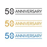 Simple 50th anniversary years logo vector. blue black gold color. Simple 50th anniversary years celebration logo vector. blue black gold color vector illustration