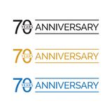 Simple 70th anniversary years logo vector. blue black gold color. Simple 70th anniversary years celebration logo vector. blue black gold color vector illustration