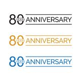Simple 80th anniversary years logo vector. blue black gold color. Simple 80th anniversary years celebration logo vector. blue black gold color vector illustration