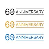 Simple 60th anniversary years logo vector. blue black gold color. Simple 60th anniversary years celebration logo vector. blue black gold color royalty free illustration
