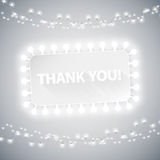 Simple Thank You Card with Christmas Lights Stock Image