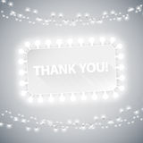 Simple Thank You Card with Christmas Lights Royalty Free Stock Image