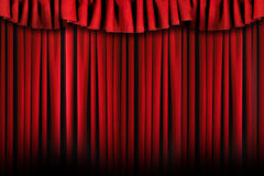 Simple Theater Stage Drapes  With Harsh Lighting. Theater Stage Drapes With Top Swag Royalty Free Stock Images