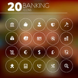 Simple thin banking icons on blurred background. Simple thin banking icons collection on blurred background Royalty Free Stock Photography
